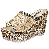 ZiSUGP Black Wedge Sandals For Women Sandalias Para Mujer De Moda Sandalias Para Mujer Cheap Flip Flops For Women Low Heel Dress Shoes For Women(Gold,Size7.5)