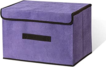 LELE LIFE Foldable Storage Box with Dustproof Lid and Handle, Foldable Storage Bin Collapsible Storage Organizer for Close...