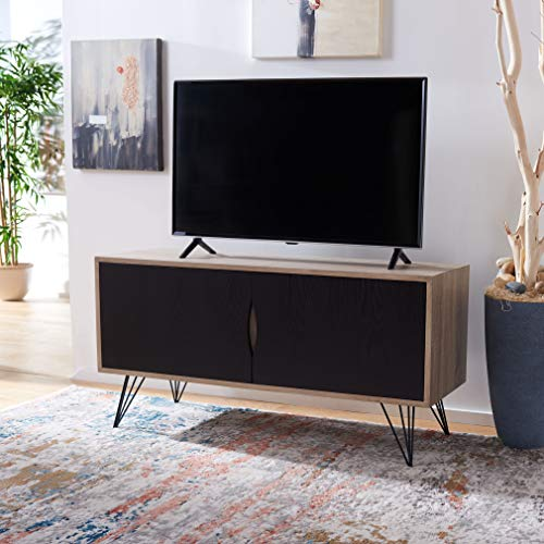 Safavieh Home Collection Jeralyn Retro Mid-Century Light Oak and Black Wood Sideboard