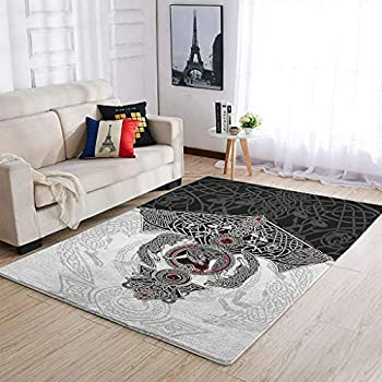 AHAMENT Carpets Vikings Tattoo Odin s Ravens Muninn Crow Wolf Area Rug Traditional - Dining Room Rug White 36x60 inch