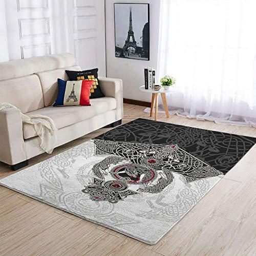 Lind88 Alfombra de fácil mantenimiento Vikings, diseño de lobo de tatuaje, para interiores, moderna, para dormitorio, mesita de noche, color blanco, 122 x 183 cm
