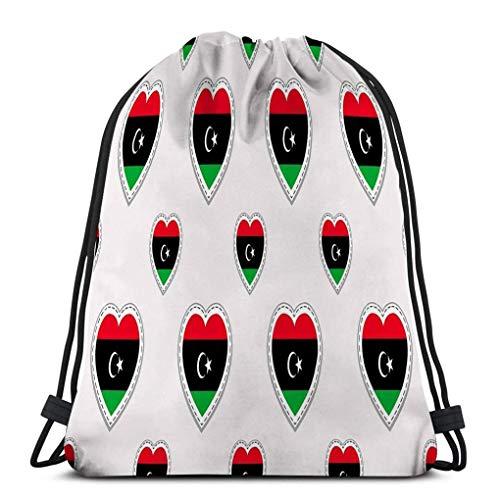 XCNGG Bolsa con cordón clásica Bolsa de almacenamiento deportiva banderas de libia pegatinas nacionales símbolos de corazones de amor buena elección páginas deportivas viajes patrióticos