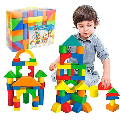 Mini Tudou 137 PCS Foam Blocks for Toddlers Soft Stacking Building Block Toys Set for Kids Boys and Girls