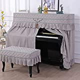 C+ - Funda para piano estándar con tapa completa vertical para piano, algodón, lino, encaje, borla europea, decoración de piano (color: gris1, tamaño: piano+funda de taburete doble)