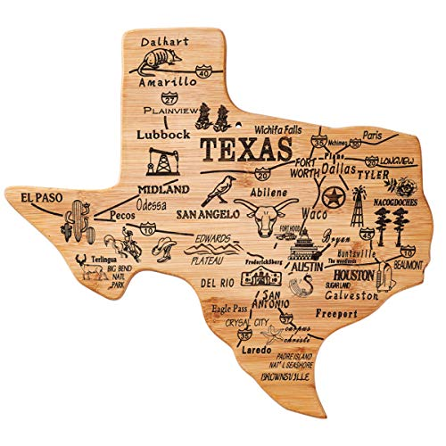 YOUIN Texas State Shaped Bamboo Serving and Cutting Board, Texas State Gifts for Home, Office Wall Art Decoration