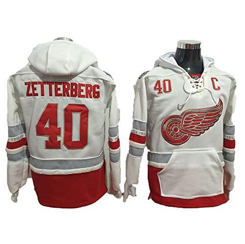 Yajun Kapuzen Pullover Hoodie NHL Henrik Zetterberg#40/Dylan Larkin#71 Detroit Red Wings T-Shirt Atmungsaktives Sweatshirt Langarm Herbst und Winter Eishockey Trikots,White-40,XL