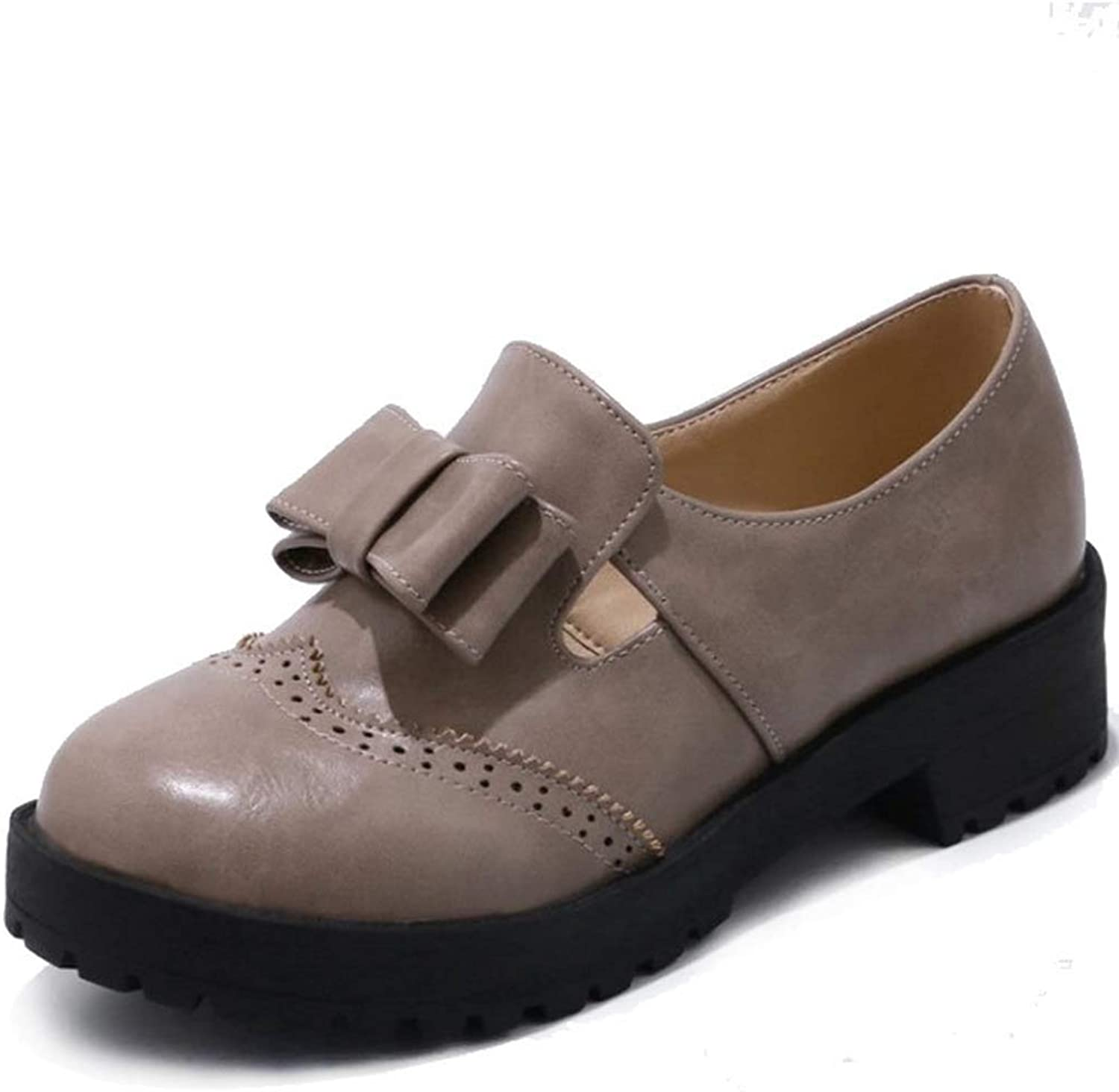 GIY Women's Oxford Loafers Low Heels Round Toe Patent Leather Bowknot Slip On Casual Flat Dress shoes Slip On Daily shoes