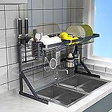 XUE-Regal, Abtropfgestell, schwarz, aus Edelstahl, Küchenregal, Spüle, Geschirr, Aufbewahrung schwarz