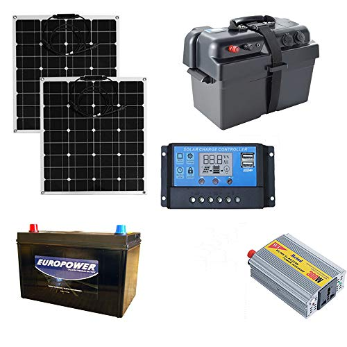 SEKIYA 小学生でも組み立てられる簡単配線で 1200W ポータブル電源 セット 家庭用 オフグリッド 太陽光発電キット フレキシブル ソーラーパネル 100W (50w*2)付 20Aチャージコントローラー サイクルバッテリー インバーター500W