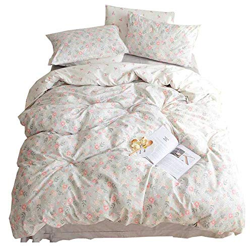 HIGHBUY Soft Cotton Twin Duvet Cover Sets for Kids Girls Flower Print Garden Reversible Floral Comforter Cover Bedding Sets Twin 3 Pieces Single Bedroom Collection with Zipper Closure for Teens