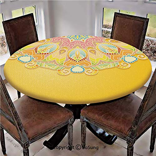 "Elastic Edged Polyester Fitted Table Cover,Eastern Spring Garden Inspiration Cute Summer Motifs Old Fashioned Design,Fits up 40""-44"" Diameter Tables,The Ultimate Protection for Your Table,Multicolor"
