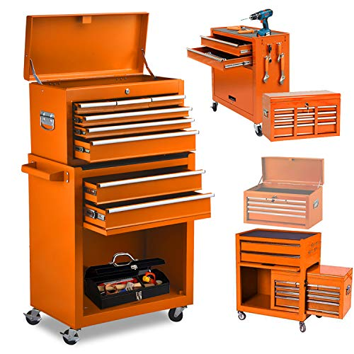 8 Drawers Large Space Capacity Rolling Tool Chest, 2 in 1 Mobile Lockable Drawers Steel Tool Box Cabinet and Storage Organizer Cart with Wheels, Toolbox Combo for Workshop Garage (Orange)