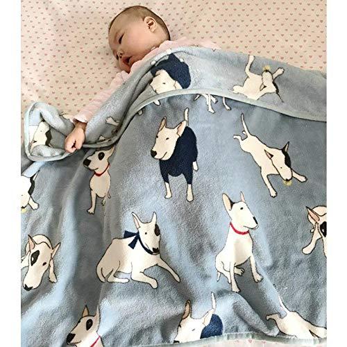 QWE Manta de Gato Aire Acondicionado Manta de Primavera y Verano Manta Delgada para bebé Manta de bebé Siesta Manta Carrito Manta en Polvo Oso Polar 73 * 100 cm, Azul Bull Terrier 73 * 100 cm
