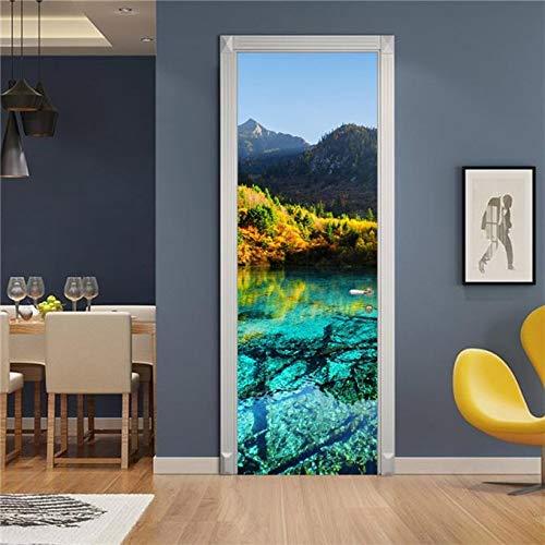 Etiqueta engomada de la puerta del patrón del paisaje 3D Papel pintado impermeable autoadhesivo para la decoración de la puerta del dormitorio de la sala de estar Calcomanías de arte A19 86x200cm