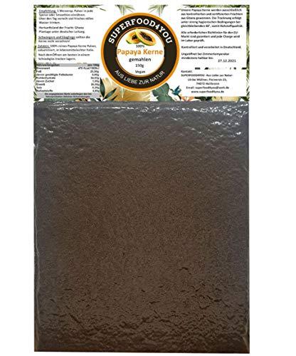 """superfood4you Papaya Kerne Pulver""""AKTION"""" 150g gemahlen bei 40° kontrolliert getrocknet - Rohkostqualität - Ohne Zusatzstoffe - Garantiert rein - Papain/Milde Schärfe"""