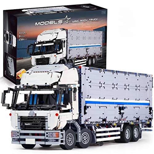DSXX Technik LKW mit Container, Transporter Autos Bausteine Bausatz mit APP / 2,4 GHz Fernbedienung, 4166Teile Konstruktionsspielzeug Kompatibel mit Lego Technic