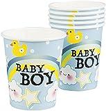 Neu: 6 Party-Becher * Schnuller-Alarm - Blau * für Einen Kindergeburtstag | Baby Boy Junge Geburt Kinder Geburtstag Feier Pappbecher Partybecher Einweg