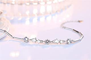 Star Charms 5A أساور زركون ساحرة 925 سوار من الفضة الاسترلينية للنساء سلسلة ممتدة أساور يانجين (اللون: وردي)