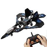 Aereo da gara top rc, facile da pilotare e librarsi, jet da combattimento quadricottero elicottero RC con rotazione a 360 °, indicazione della luce a LED, velivolo volante per hobby giocattolo RC,Blu