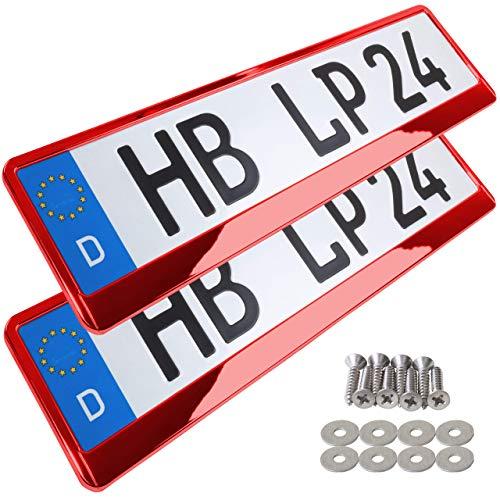 A157 Kennzeichenhalter 2 Stück Auto Nummernschildhalter rot chrom Kennzeichenverstärker Kennzeichenhalterung Nummernschildhalterung Verstärker Halter für Kennzeichen Nummernschild edel glänzend