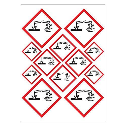 Planche A4 de stickers Produit Corrosif autocollant adhésif – E09
