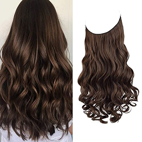 REECHO Halo Hair Extensions with Invisible Transparent Wire Adjustable Size Removable Secure Clips in Curly Wavy Hidden Crown Secret Hairpiece for Women 16 Inch - Dark Brown with Copper Highlights