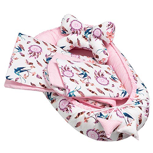 Solvera_Ltd Juego de accesorios para bebé de 5 piezas, incluye nido para bebé, 90 x 50 cm, cojín plano, manta para gatear, cojín de mariposa, 100% algodón (atrapasueños/rosa)