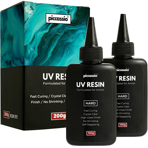 Piccassio UV Resin - Upgraded 200g Ultra Clear Hard Type UV Resin - Rapid Curing Craft Resin - Make DIY Jewelry, Keychains, Earrings, Clear-Cast Parts in Minutes - Cure with UV Lamp and Sunlight