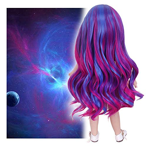 STfantasy Doll Wig for 18 Inches American Girl Doll AG OG Girls Gotz My Life Ombre Purple Curly Synthetic Hair Lolita Girls Gift