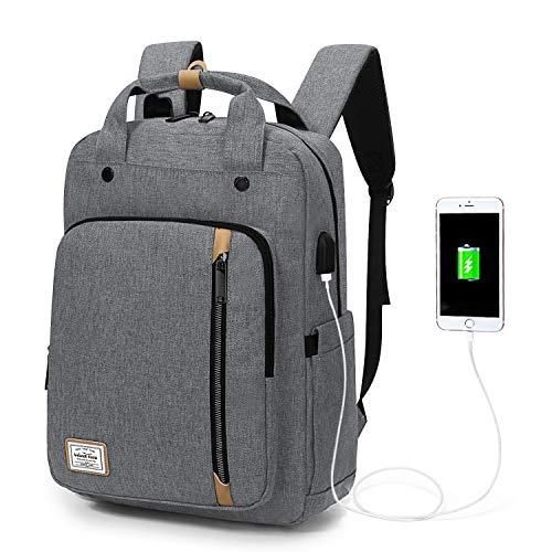 Wind Took USB Anschluss Laptop Rucksack Damen Daypack Schulrucksack für 15 Zoll Notebook, Wasserabweisend, Weiß