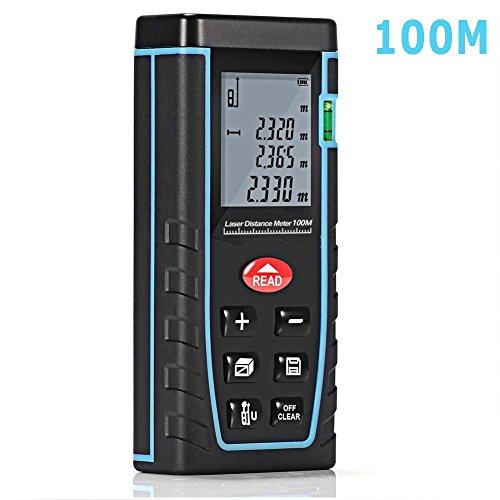 XSMeterHouse Handheld Digital Laser Entfernung Meter 328 Feet Lasermessung mit pythagoreischem Theorem, Self Calibration Storage (30 Einheiten) Range Finder mit m / in / ft