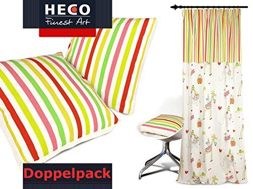 Doppelpack zum Sparpreis - Kissenhüllen Tom von Heco - Markenqualität - Maße ca. 40 x 40 cm - mit Boden - für Kinder und Liebhaber Aller Farben - Bunte Streifen auf wollweißem Grund