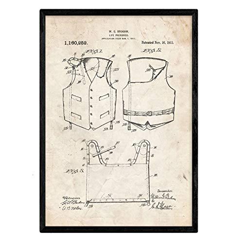 Poster met patent Nacnic-reddingsvest 1. Folie met oud design-patent op A3-formaat en vintage achtergrond