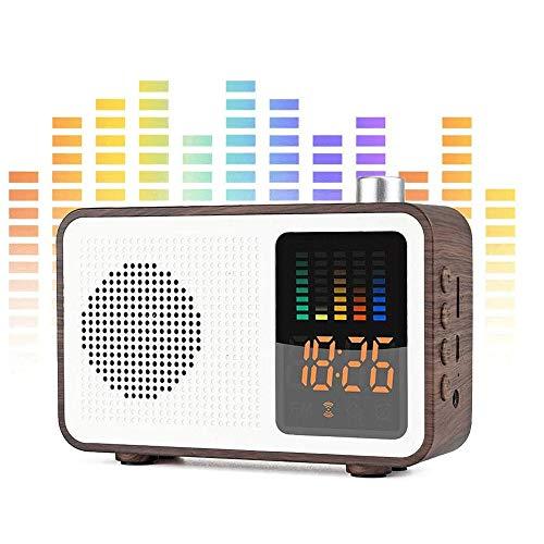 ZLSP El Altavoz de Radio Bluetooth con Alarma, de Madera estéreo Retro del Altavoz inalámbrico, Tarjeta de TF/AUX-in de Carga USB FM Radio Reloj Despertador Digital