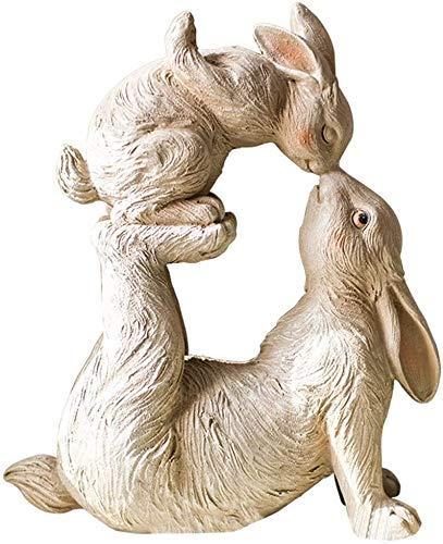 LIUSHI Juego de Conejos Decorativos de poliresina, estatuilla de Mesa, Escultura de Conejo Beso, jardín, Patio, Estatua de Conejo Entre Padres e Hijos