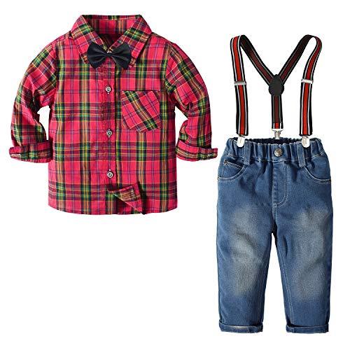 Nwada Herbst Und Winter Jungen Kleidung Sets Fliegen Krawatten Hemden + HosenträGer Hosen Jeans Kleinkind Junge Weihnachtsoutfits AnzüGe Rotes Plaid 2 Jahre