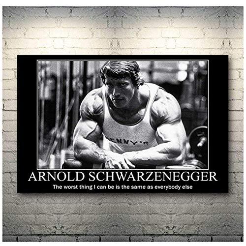 HHLSS Hermosa Imagen 70x90cm sin Marco Arnold Schwarzenegger Culturismo Motivación Poster Print Gym Room Fitness Sports Imprimir en Lienzo