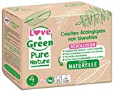 Love & Green Pure Nature - Pañales ecológicos sin blanquear T4 7-14 kg
