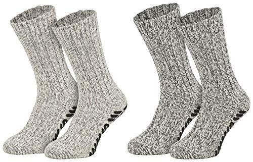2 Paar ABS Norwegersocken Socken Antirutsch Wintersocken gestrickt Haussocken mit Noppen Wollsocken Damen Herren grau-melange 43 44 45 46
