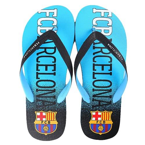 FCBarcelona Chanclas Niño Verano Playa Piscina - Sandalias Goma Planas Caminar Zapatos colección Futbol Club Barcelona Barça zapatillas edición limitada (Azul y negro, Numeric_33)