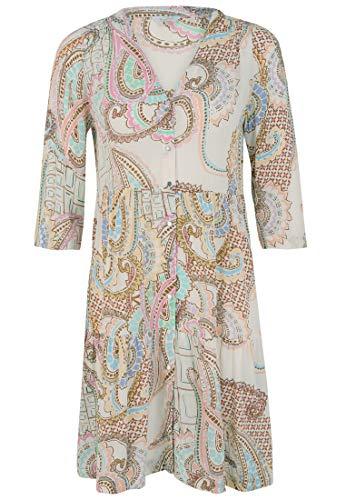 FROGBOX Damen Kleid mit Volants und Knopfleiste