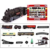Polai Train Électrique Ho, 1:87 Circuit Train Electrique, Locomotive Miniature H0, Coffret de Train avec Lumière et Musique