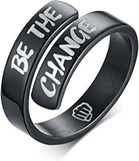 MEALGUET Stainless Steel Black Inspirational Encourage Message Engraved Twist Wrap Ring for Men Women Birthday Graduation for Boy Girl