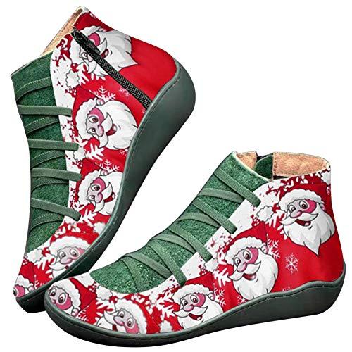 Huaheng PU lederen enkellaarzen Vintage Lace Up Vrouwen Schoenen Kerstman afdrukken Rits voor Kerstmis 39 EU Groen