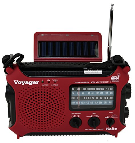Kaito KA500RED 5-Way Powered Emergency AM/FM/SW Weather Alert Radio,...