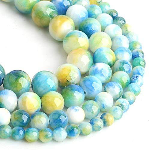 Perlas de Piedra Natural Jades Azules Amarillos Redondos Perlas Sueltas para joyería Fabricación de Joyas 4/6/8/10/12 mm Bricolaje Hecho a Mano Pulseras 12mm About 30pcs