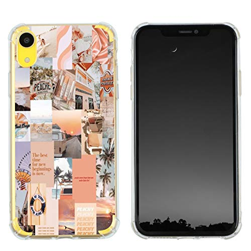 Case for iPhone XR, Vintage Vibe Collage Aesthetic Retro The Best Time Slim Case TPU Bumper Shockproof Protective Cover Case for Women Girls Support Wireless Charging