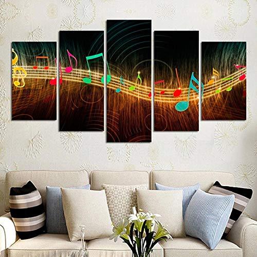 FYBSNDY Hd Druck Malerei Leinwand Wandkunst 5 Tablet Musik Symbol Bild Dekoration Poster Wohnzimmer 20X35 cm X 2 20X45 cm X 2 20X55 cm X 1 Rahmenlose