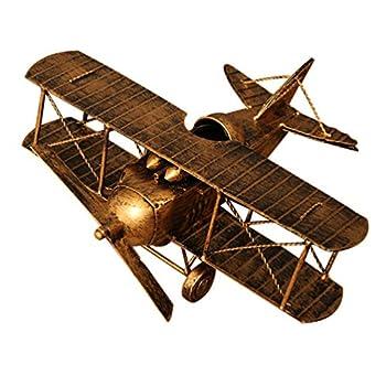 Wakauto Vintage Airplane Model Metal Handicraft Metal Biplane Aircraft Models Adornment Desktop Decoration for Office Home(random color)