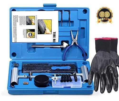 Réparation de Pneu, Kit de réparation de pneu Heavy Duty Ensemble de 69 pièces pour moto,...